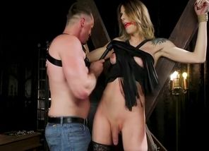 T-girl in restrain bondage gets tortured