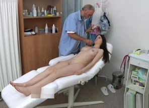 Black-haired  fetish with cum shot
