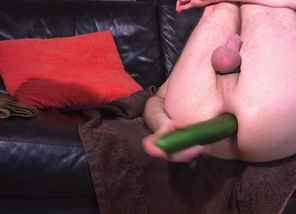 Thin Man Plays With Cucumber and..