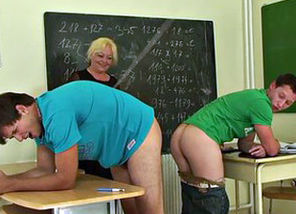 Elderly 3 way in the classroom