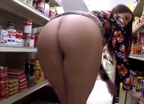 Demonstrating her bod in store