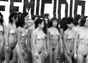 Naked protesters at Argentina