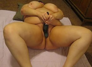 Stimulating her unshaved Plus-size muff