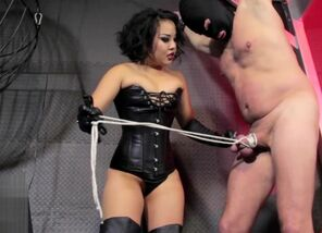 Aggressive Chinese Femdomme caning and..